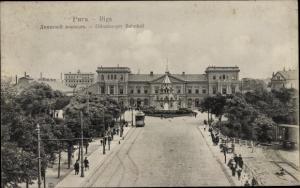 Ak Riga Lettland, Dünaburger Bahnhof