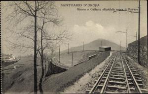 Ak Oropa Biella Piemonte, Santuario di Oropa, Girone e Galleria elicoidale sopra il Favaro