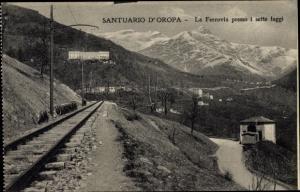 Ak Oropa Biella Piemonte, Santuario di Oropa, La Ferrovia presso i sette faggi