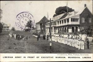 Ak Monrovia Liberia, Liberian Army in Front of Executive Mansion