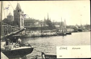 Ak Hansestadt Lübeck, Hafenpartie