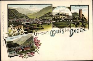 Litho Gries Bozen Bolzano Südtirol, Kurhaus, Gescheibter Turm, Rundschau