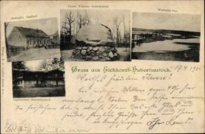 Ak Eichhorst Schorfheide Barnim, Jagdschloss Hubertusstock, Grabert's Gasthof, Gedenkstein, See