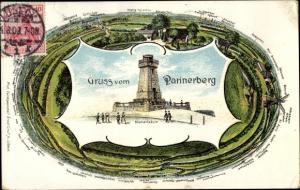 Litho Bad Schwartau in Ostholstein, Pariner Berg, Rundumblick, Bismarcksäule
