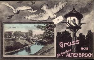Ak Altenbruch Cuxhaven in Niedersachsen, Am Kanal, Brieftauben