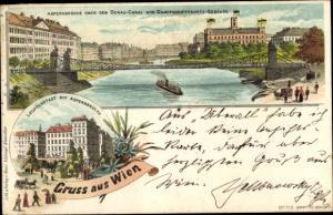 Litho Wien 2 Leopoldstadt Österreich, Aspernbrücke, Donaukanal, Dampfschifffahrtsgebäude