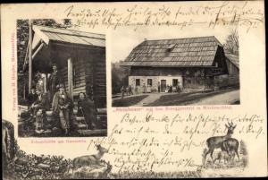 Ak Mürzzuschlag Steiermark, Steinbauer mit dem Roseggerstübl, Schutzhütte am Ganzstein