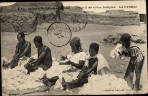 Ak Travail du coton indigene, Le Cardage, Baumwollpflücker