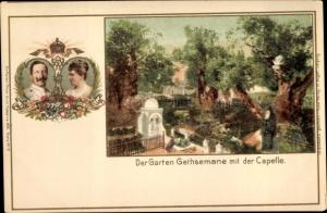 Litho Gethsemane Israel, Garten Gethsemane, Kapelle, Kaiserreise 1898, Wilhelm II, Auguste Viktoria