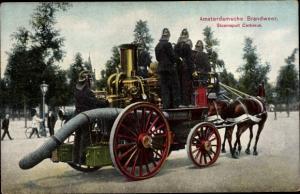 Ak Amsterdam Nordholland Niederlande, Amsterdamsche Brandweer, Stoomspuit Cerberus, Löschwagen