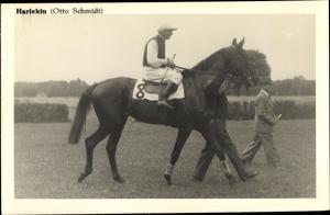 Ak Rennpferd Harlekin, Jockey Otto Schmidt