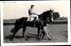 Ak Rennpferd Blaue Adria, Jockey Held