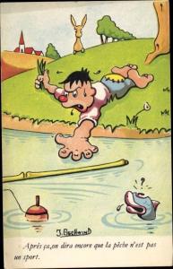 Künstler Ak Gschwind, J., Apres ca, on dira encore que la peche n'est past un sport, Angeln, Fisch