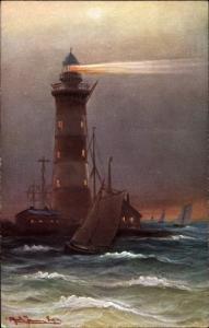 Künstler Ak Meer mit Leuchtturm