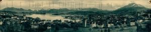 Klapp Ak Luzern Stadt, Panorama, Gebäude, Türme, See, Bergnamen