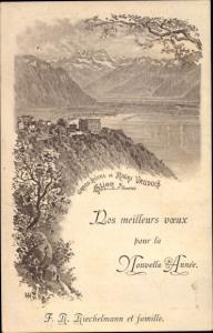 Litho Glion sur Territet Montreux Kanton Waadt, Grand Hotel du Rigi Vaudois
