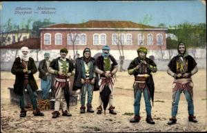 Ak Albanien, Malisoren, Albanier in Trachten