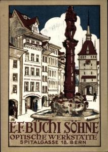 Künstler Ak Bern Stadt Schweiz, E. F. Büchi Söhne, Optische Werkstätte, Spitalgasse 18