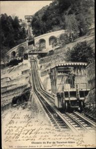 Ak Glion Montreux Kanton Waadt, Chemin de Fer de Territet Glion, Standseilbahn
