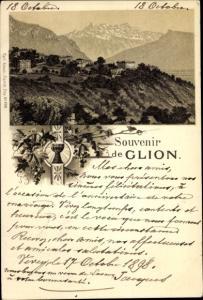 Litho Glion Montreux Kanton Waadt, Vue générale, vin