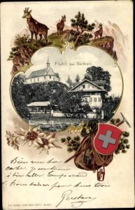 Präge Passepartout Ak Flühli Kanton Luzern Schweiz, Ortspartie, Schweizer Nationalwappen, Ziegen