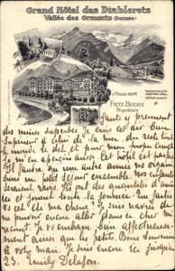 Litho Les Diablerets Ormont Dessous Kanton Waadt, Grand Hotel des Diablerets