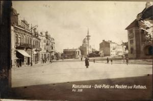 Ak Constanța Konstanza Rumänien, Ovid Platz mit Moschee und Rathaus