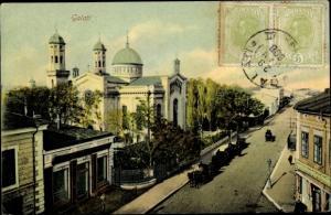 Ak Galati Rumänien, Kirche, Straßenpartie