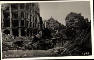 Foto Ak Hamburg Mitte Altstadt, Mönckebergstraße, Gebäuderuinen, Kriegszerstörung 1944