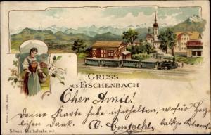 Litho Eschenbach Kanton Luzern, Panorama, Bahnhof der Seetalbahn, Tracht