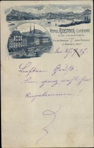 Litho Luzern Stadt Schweiz, Hotel Rebstock, Prop. J. Gurtner, Quai