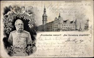 Ak Büste von Kaiser Franz Joseph I., Providentiae memor, Der Vorsehung eingedenk