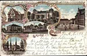Litho Celle in Niedersachsen, Schloss, Denkmal, Post, Bahnhof, Kirche, Gymnasium