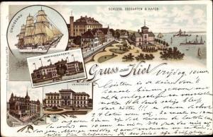 Ak Kiel in Holstein, Schloss, Seegarten, Hafen, Gneisenau, Marineakademie, Universität, Börsenhotel