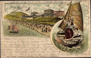Litho Norderney in Ostfriesland, Giftbude, Strand, Bootspartie, Frauen in Tracht