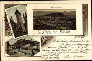 Litho Graz Steiermark, Hilmwarte, Panorama, Schlossberg