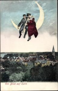 Ak Eutin in Ostholstein, Panorama, Mann und Frau auf Mondsichel