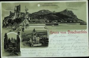 Mondschein Litho Königswinter am Rhein, Drachenfels, Drachenburg, Ruine