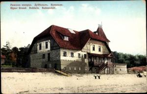 Ak Riga Lettland, Strand mit Badeanstalt
