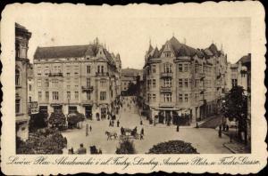 Ak Lwów Lemberg Ukraine, Plac Akademicki i ul. Fredry, Academie Platz und Fredro Gasse