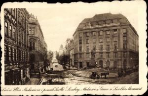Ak Lwów Lemberg Ukraine, Ulica Mickiewicza i pomnik Smolki, Mickiewicz Gasse und Smolka Monument