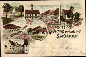 Litho Schildau bei Torgau, Wilhelmsplatz, Kriegerdenkmal, Rathaus, Kirche