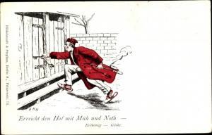 Künstler Ak Erreicht den Hof mit Müh und Not, Zitat aus dem Erlkönig von Goethe, Tabakpfeife