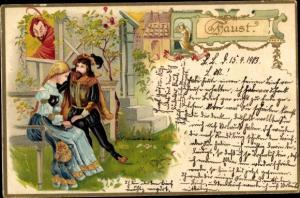 Präge Litho Faust mit Gretchen, Mephisto, Goethe