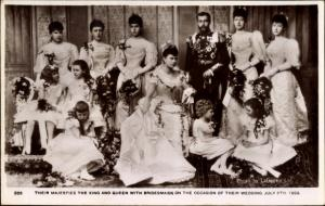 Ak Their Majesties, King George V., Queen Mary, Bridesmaids, Wedding 1893