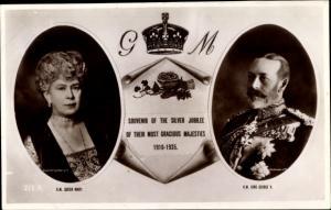Ak König Georg V. von England, King George V., Queen Mary, Silver Jubilee 1935