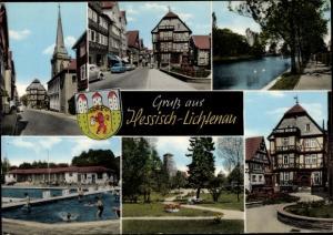Wappen Ak Hessisch Lichtenau in Hessen, Freibad, Strassenansicht
