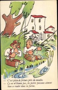 Künstler Ak Angeln an der Wassermühle