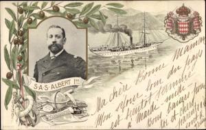 Wappen Ak Fürst Albert von Monaco, Portrait, Wappen, Dampfschiff, Olivenhain