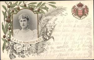 Wappen Ak Prinzessin Alice von Monaco, Portrait, Wappen, Olivenhain